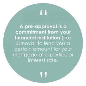A pre-approval is a commitment from your financial institution (like Sunova) to lend you a certain amount for your mortgage at a particular interest rate.