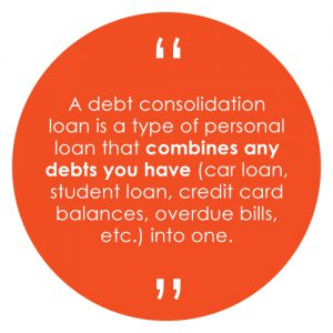 A debt consolidation loan is a type of personal loan that combines any debts you have (car loan, student loan, credit card balances, overdue bills, etc.) into one.